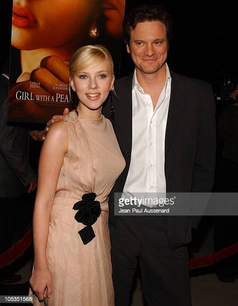 Scarlett Johansson and Colin Firth during 'Girl With A Pearl Earring' Los Angeles Premiere Arrivals at Academy of Motion Pictures Arts and Sciences...