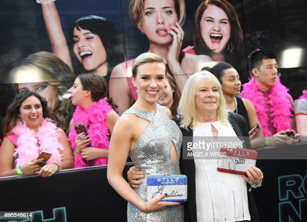 Scarlett Johansson and Geraldine Dodd attend the 'Rough Night' premeire at AMC Loews Lincoln Square on June 12 2017 in New York City / AFP PHOTO /...