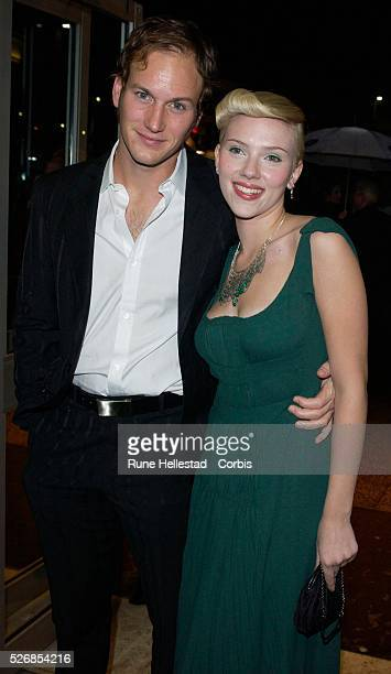 Scarlett Johansson and her boyfriend attend the premiere of 'Girl With A Pearl Earring' at the Odeon WestEnd in conjunction with the London Film...