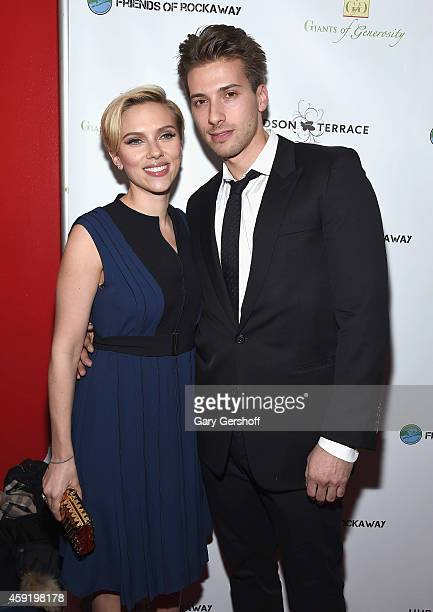 Scarlett Johansson and her brother Hunter Johansson attend the 2nd Annual Champions Of Rockaway Hurricane Sandy Benefit at Hudson Terrace on November...