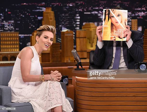 Scarlett Johansson and host Jimmy Fallon during a segment on 'The Tonight Show Starring Jimmy Fallon' at Rockefeller Center on April 30 2015 in New...