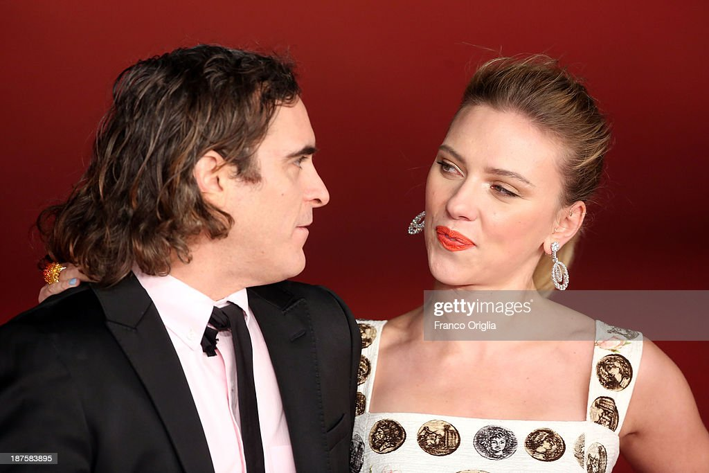 <a gi-track='captionPersonalityLinkClicked' href=/galleries/search?phrase=Scarlett+Johansson&family=editorial&specificpeople=171858 ng-click='$event.stopPropagation()'>Scarlett Johansson</a> and <a gi-track='captionPersonalityLinkClicked' href=/galleries/search?phrase=Joaquin+Phoenix&family=editorial&specificpeople=215391 ng-click='$event.stopPropagation()'>Joaquin Phoenix</a> attend 'Her' Premiere during The 8th Rome Film Festival at Auditorium Parco Della Musica on November 10, 2013 in Rome, Italy.