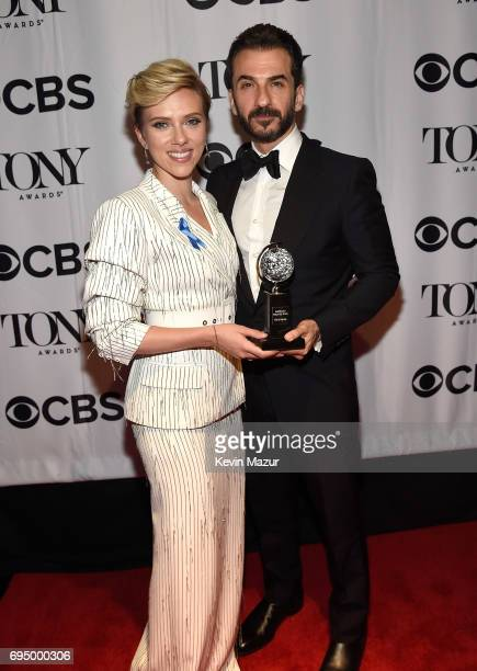 Scarlett Johansson and Michael Aronov attend the 2017 Tony Awards at Radio City Music Hall on June 11 2017 in New York City