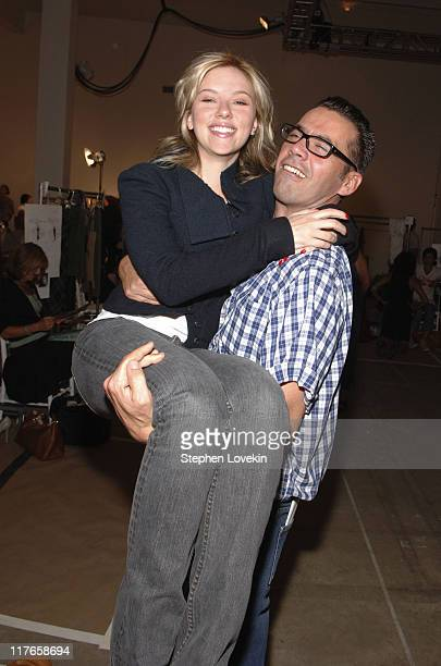 Scarlett Johansson and Roland Mouret during Olympus Fashion Week Spring 2006 Bobbi Brown at Roland Mouret at Skylight Studios in New York City New...