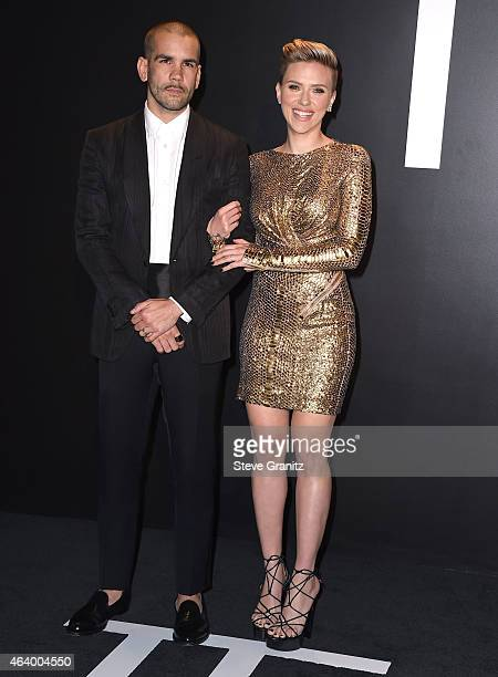 Scarlett Johansson and Romain Dauriac arrives at the Tom Ford Autumn/Winter 2015 Womenswear Collection Presentation at Milk Studios on February 20...