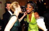 Scarlett Johansson and Viola Davis attend the 64th Annual Tony Awards at The Sports Club/LA on June 13 2010 in New York City