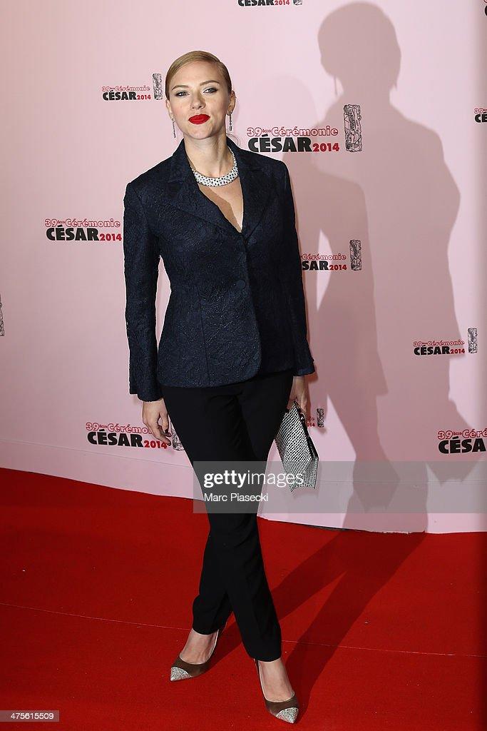 Scarlett Johansson arrives for the 39th Cesar Film Awards 2014 at Theatre du Chatelet on February 28, 2014 in Paris, France.