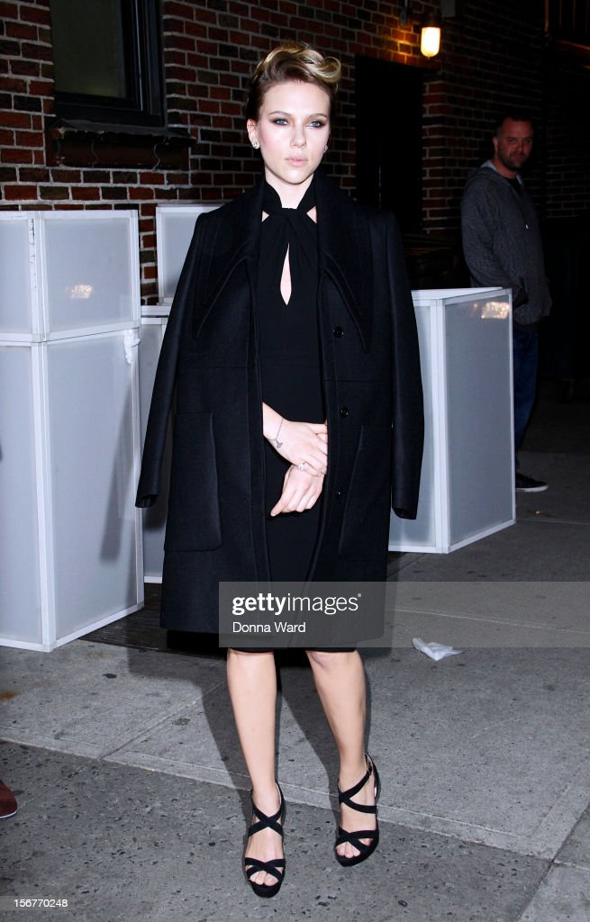 <a gi-track='captionPersonalityLinkClicked' href=/galleries/search?phrase=Scarlett+Johansson&family=editorial&specificpeople=171858 ng-click='$event.stopPropagation()'>Scarlett Johansson</a> arrives for 'The Late Show with David Letterman' at Ed Sullivan Theater on November 20, 2012 in New York City.
