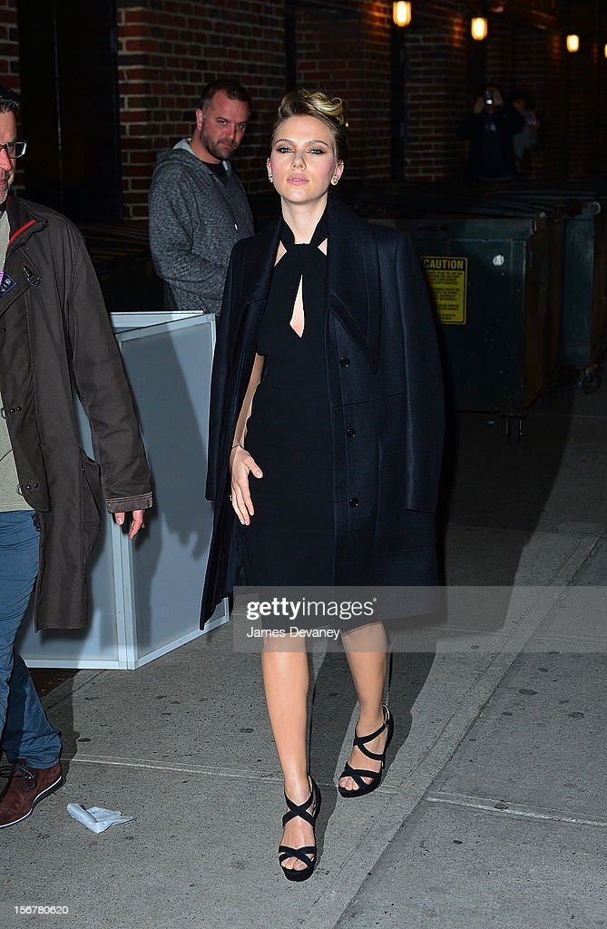 Scarlett Johansson arrives to 'Late Show with David Letterman' at Ed Sullivan Theater on November 20, 2012 in New York City.
