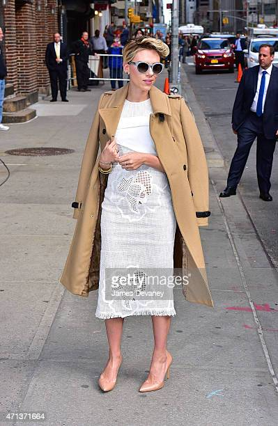 Scarlett Johansson arrives to 'Late Show with David Letterman' on April 27 2015 in New York City