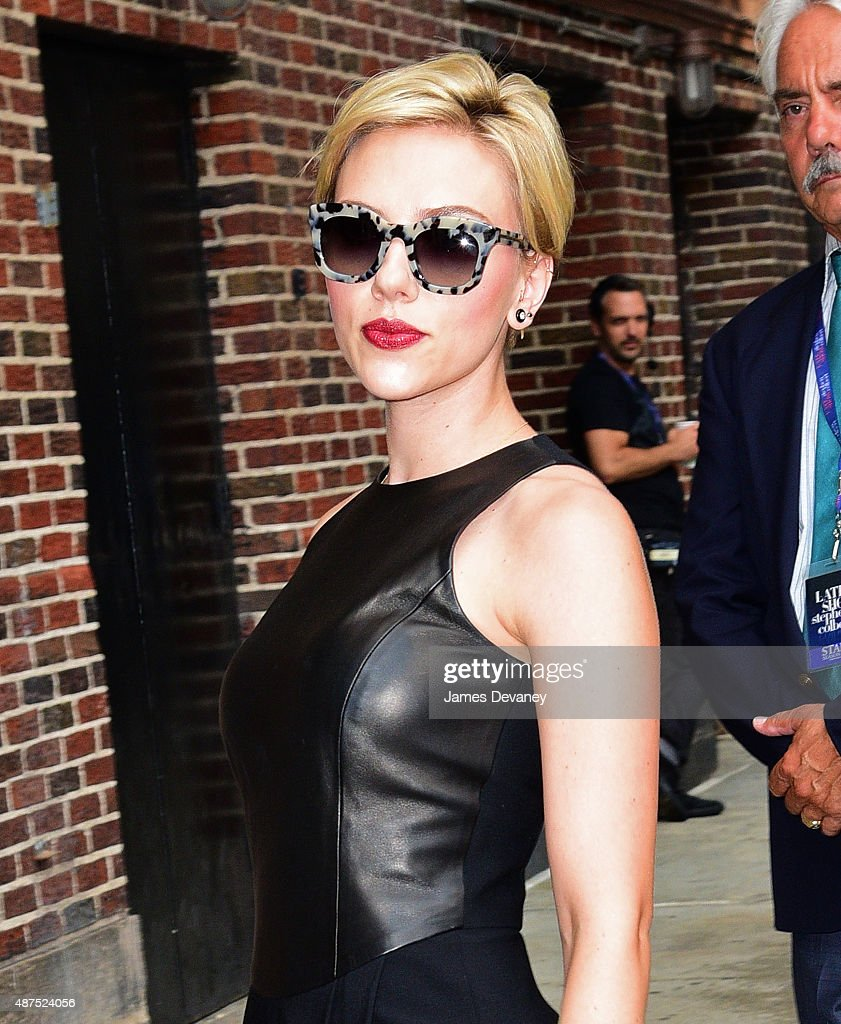 <a gi-track='captionPersonalityLinkClicked' href=/galleries/search?phrase=Scarlett+Johansson&family=editorial&specificpeople=171858 ng-click='$event.stopPropagation()'>Scarlett Johansson</a> arrives to 'The Late Show With Stephen Colbert' at Ed Sullivan Theater on September 9, 2015 in New York City.