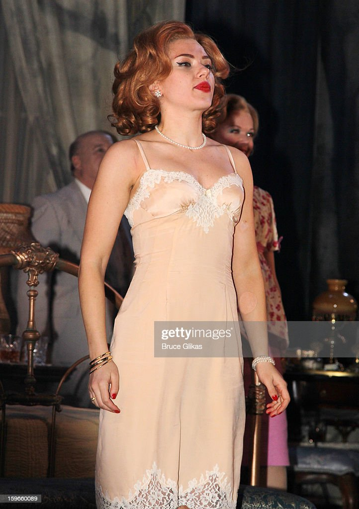 Scarlett Johansson as 'Maggie the Cat' takes her Opening Night curtain call in 'Cat On A Hot Tin Roof' on Broadway at The Richard Rodgers Theatre on January 17, 2013 in New York City.