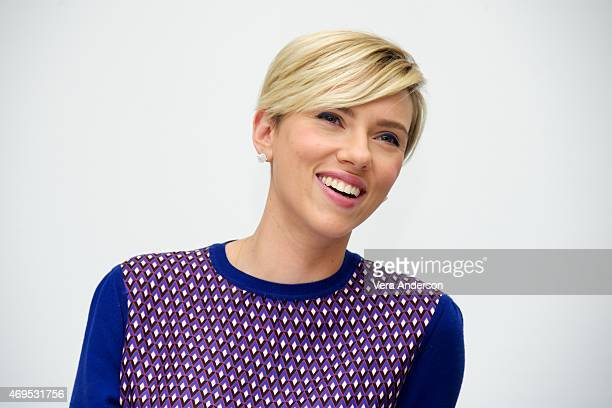Scarlett Johansson at the 'Avengers Age of Ultron' Press Conference at Walt Disney Studios on April 11 2015 in Burbank California
