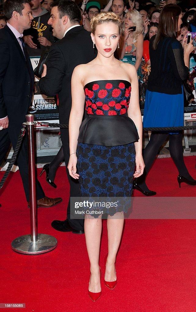 Scarlett Johansson Attends Marvel Avengers Assemble European Premiere At Vue Westfield On April 19, 2012 In London.