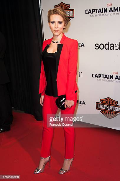 Scarlett Johansson attends the 'Captain America The Winter Soldier' Paris Premiere at Le Grand Rex on March 17 2014 in Paris France