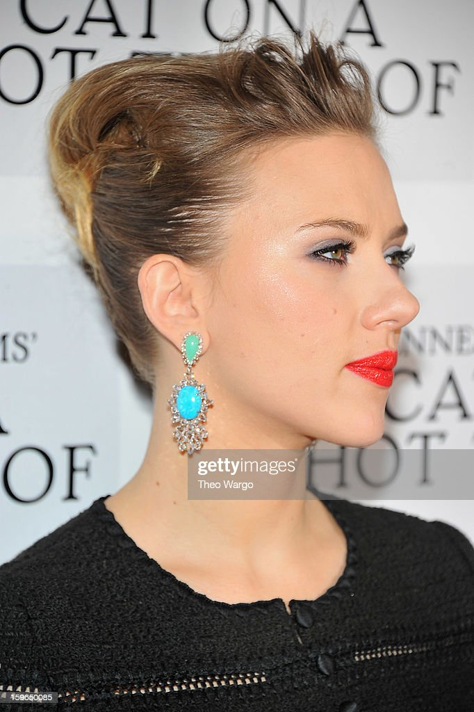 <a gi-track='captionPersonalityLinkClicked' href=/galleries/search?phrase=Scarlett+Johansson&family=editorial&specificpeople=171858 ng-click='$event.stopPropagation()'>Scarlett Johansson</a> attends the 'Cat On A Hot Tin Roof' Broadway Opening Night after party at The Lighthouse at Chelsea Piers on January 17, 2013 in New York City.