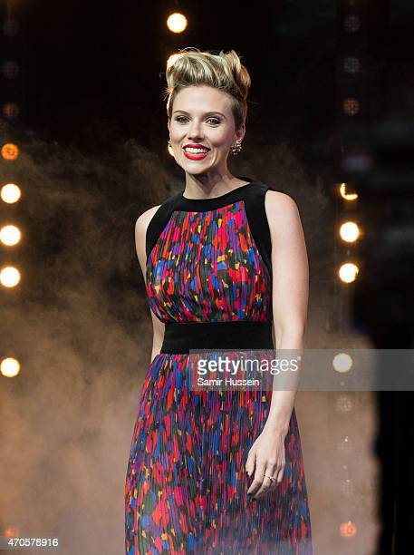 Scarlett Johansson attends the European premiere of 'The Avengers Age Of Ultron' at Westfield London on April 21 2015 in London England