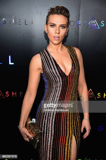 Scarlett Johansson attends the 'Ghost In The Shell' premiere hosted by Paramount Pictures DreamWorks Pictures at AMC Lincoln Square Theater on March...