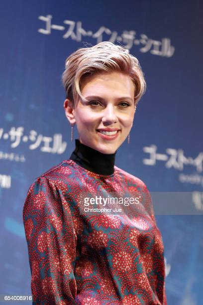 Scarlett Johansson attends the official press conference ahead of the World Premiere of the Paramount Pictures release 'Ghost In The Shell' at the...