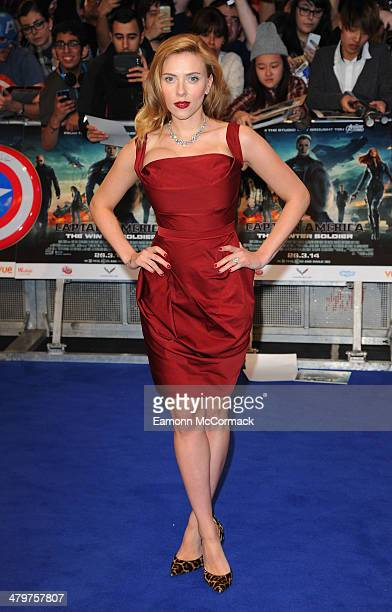 Scarlett Johansson attends the UK Film Premiere of 'Captain America The Winter Soldier' at Westfield London on March 20 2014 in London England