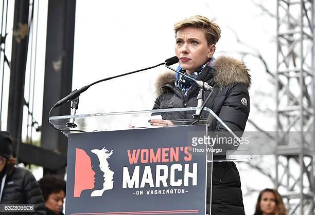 Scarlett Johansson attends the Women's March on Washington on January 21 2017 in Washington DC