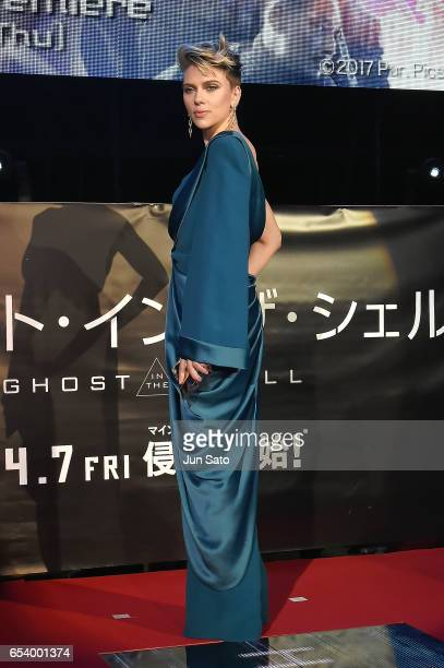 Scarlett Johansson attends the World Premiere of the Paramount Pictures release 'Ghost In The Shell' at TOHO Cinemas Shinjuku on March 16 2017 in...