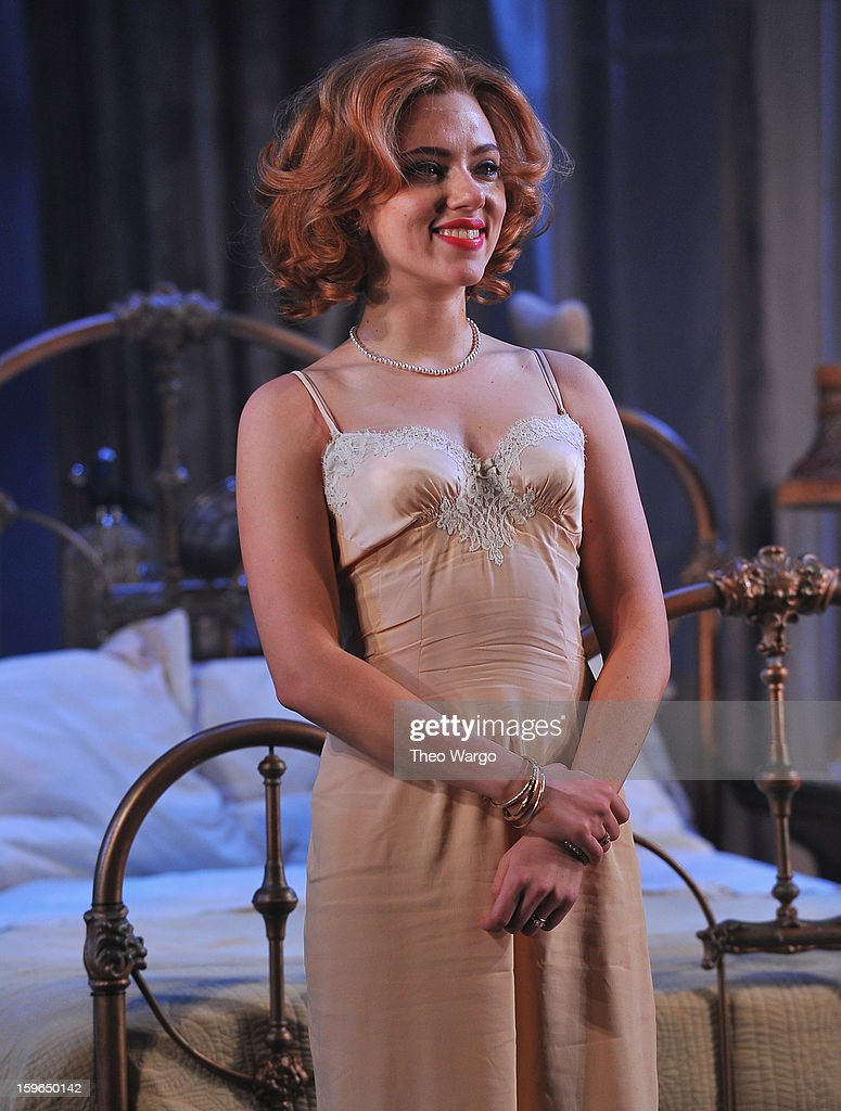 <a gi-track='captionPersonalityLinkClicked' href=/galleries/search?phrase=Scarlett+Johansson&family=editorial&specificpeople=171858 ng-click='$event.stopPropagation()'>Scarlett Johansson</a> curtain call during 'Cat On A Hot Tin Roof' Broadway Opening Night at Richard Rodgers Theatre on January 17, 2013 in New York City.