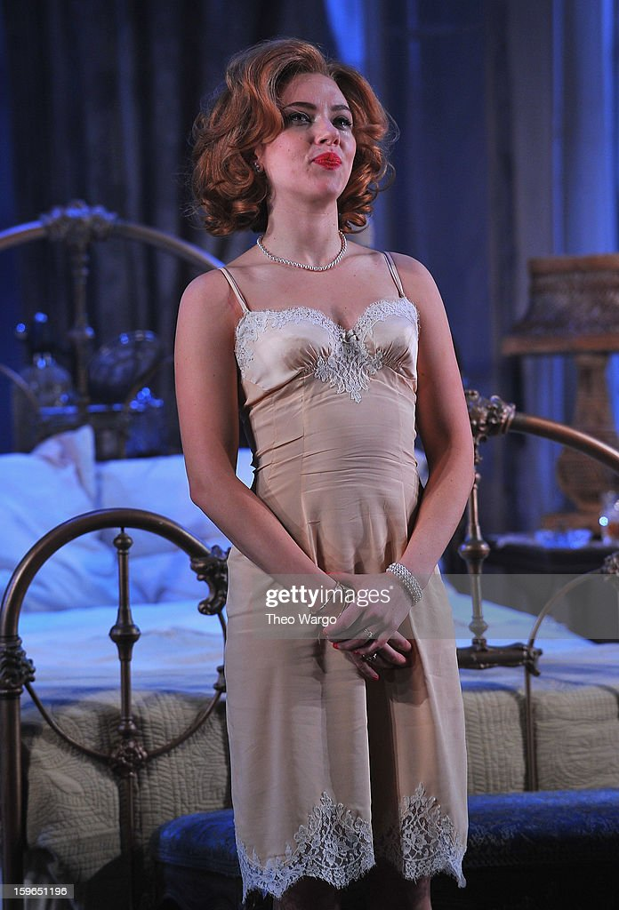 Scarlett Johansson curtain call during 'Cat On A Hot Tin Roof' Broadway Opening Night at Richard Rodgers Theatre on January 17, 2013 in New York City.