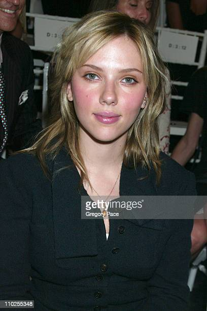Scarlett Johansson during Olympus Fashion Week Spring 2006 Roland Mouret Sponsored by Motorola Front Row and Backstage at Skylight Studios in New...