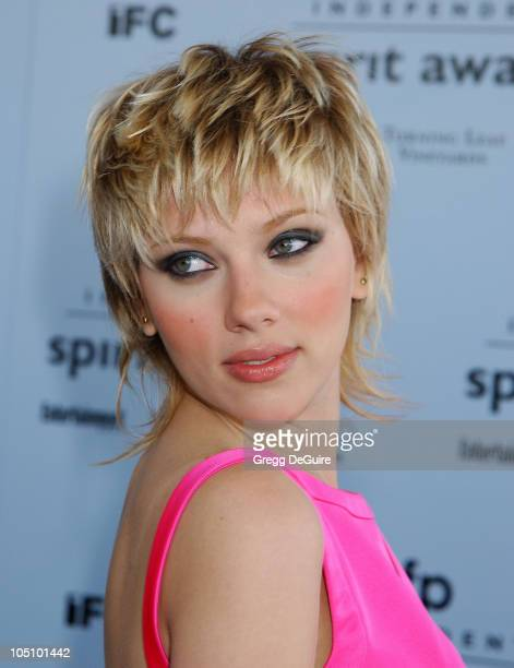 Scarlett Johansson during The 18th Annual IFP Independent Spirit Awards Arrivals at Santa Monica Beach in Santa Monica California United States