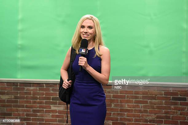 LIVE 'Scarlett Johansson' Episode 1681 Pictured Scarlett Johansson as Amber Theoharris during the 'Orioles' skit on May 2 2015