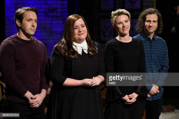 LIVE 'Scarlett Johansson' Episode 1720 Pictured Beck Bennett Aidy Bryant host Scarlett Johansson and Kyle Mooney during 'A Sketch For The Women' on...