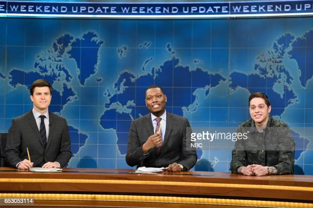 LIVE 'Scarlett Johansson' Episode 1720 Pictured Colin Jost Michael Che and Pete Davidson during Weekend Update on March 11 2017