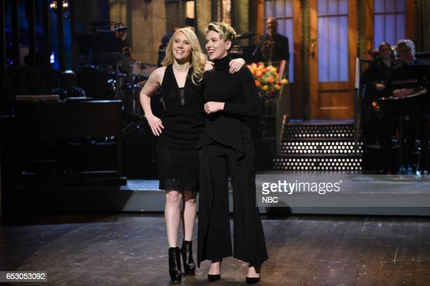 LIVE 'Scarlett Johansson' Episode 1720 Pictured Kate McKinnon and host Scarlett Johansson during the monologue on March 11 2017