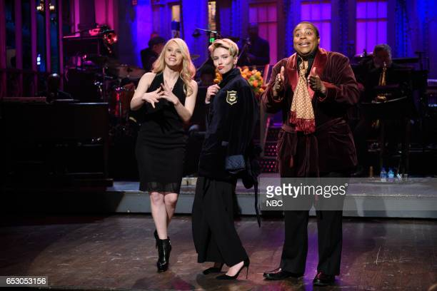 LIVE 'Scarlett Johansson' Episode 1720 Pictured Kate McKinnon host Scarlett Johansson and Kenan Thompson during the monologue on March 11 2017