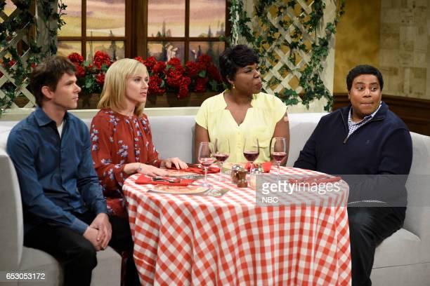 LIVE 'Scarlett Johansson' Episode 1720 Pictured Mikey Day host Scarlett Johansson Leslie Jones and Kenan Thompson during the 'Olive Garden' sketch on...