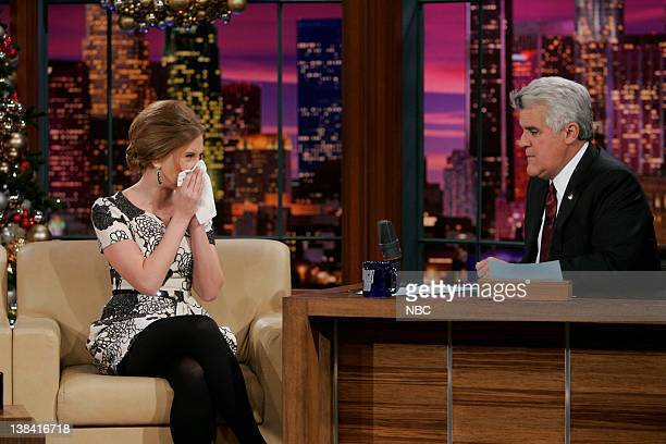 LENO Scarlett Johansson Episode 3678 Air Date Pictured Actress Scarlett Johansson during a interview with host Jay Leno on December 17 2008