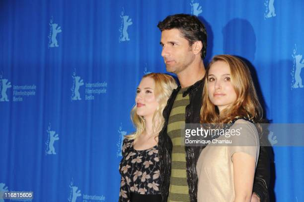 Scarlett Johansson Eric Bana and Natalie Portman attend the 'The Other Boleyn Girl' Photocall as part of the 58th Berlinale Film Festival at the...