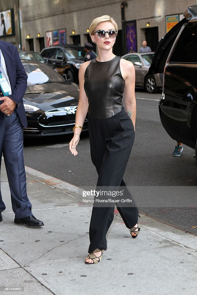 Scarlett Johansson is seen arriving at 'The Late Show with Stephen Colbert' on September 09, 2015 in New York City.
