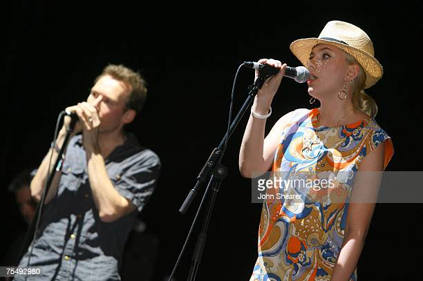 Scarlett Johansson performs with Jim Reid of The Jesus and Mary Chain at the Empire Polo Field in Indio California
