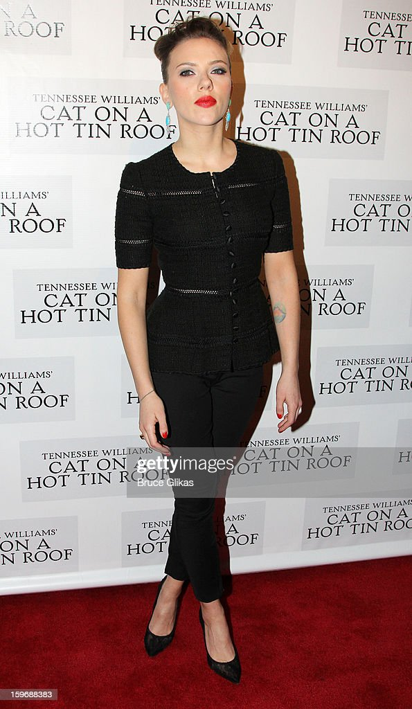 Scarlett Johansson poses at the after party on opening night of 'Cat On A Hot Tin Roof' on Broadway at Chelsea Piers Lighthouse Pier 60 on January 17, 2013 in New York City.