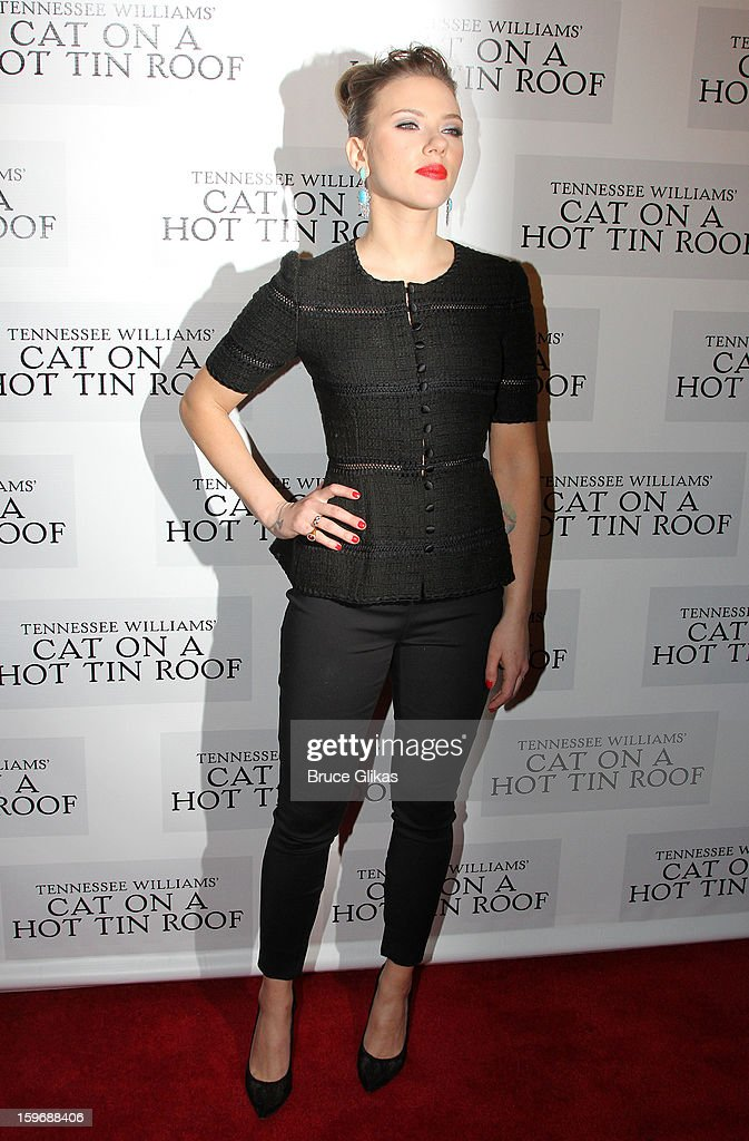 <a gi-track='captionPersonalityLinkClicked' href=/galleries/search?phrase=Scarlett+Johansson&family=editorial&specificpeople=171858 ng-click='$event.stopPropagation()'>Scarlett Johansson</a> poses at the after party on opening night of 'Cat On A Hot Tin Roof' on Broadway at Chelsea Piers Lighthouse Pier 60 on January 17, 2013 in New York City.