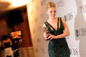 Scarlett Johansson poses with her award at the 64th Annual Tony Awards at The Sports Club/LA on June 13 2010 in New York City