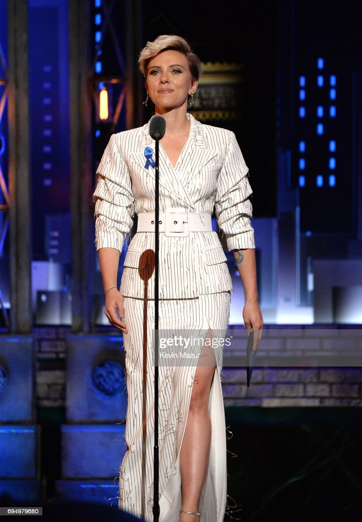 Scarlett Johansson speaks onstage during the 2017 Tony Awards at Radio City Music Hall on June 11, 2017 in New York City.