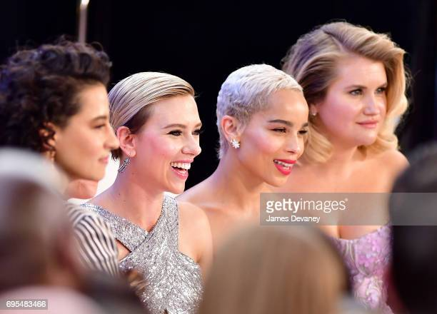 Scarlett Johansson Zoe Kravitz and Jillian Bell attend the 'Rough Night' New York Premeire at AMC Lincoln Square Theater on June 12 2017 in New York...