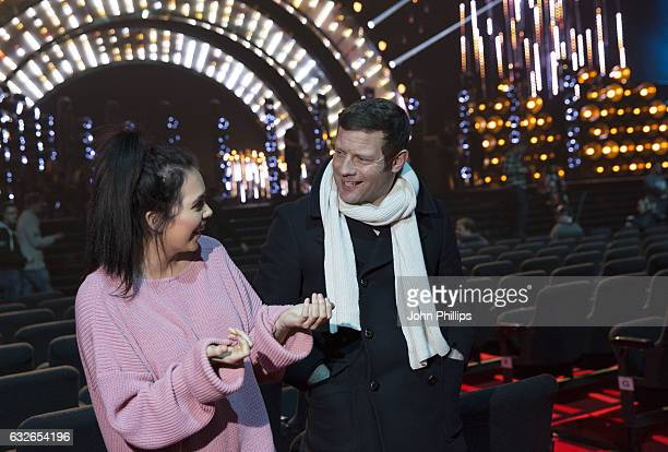 Scarlett Moffatt and Dermot O'Leary during the National Television Awards rehearsal at The O2 Arena on January 24 2017 in London England