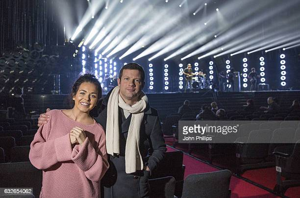 Scarlett Moffatt and Dermot O'Leary pose as James Arthur performs during the National Television Awards rehearsal at The O2 Arena on January 24 2017...