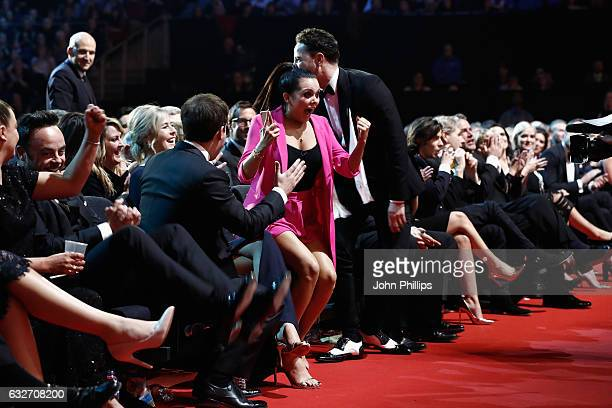 Scarlett Moffatt reacts to winning the Best Challenge Show award for I'm a Celebrity Get Me Out of Here during the National Television Awards at The...