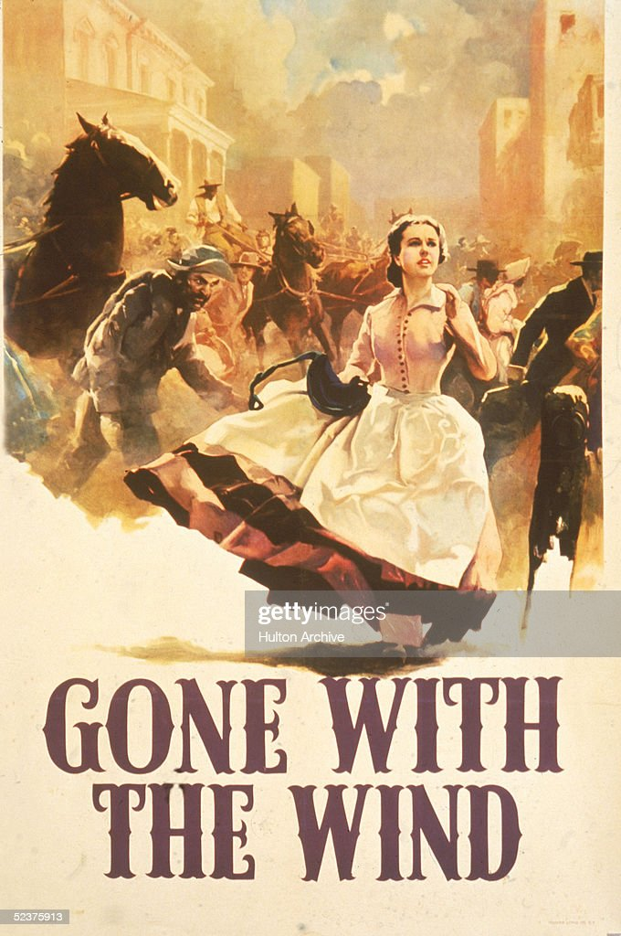 Scarlett O'Hara runs through the street filled with horses and men in this promotional poster for the book 'Gone With the Wind' 1936