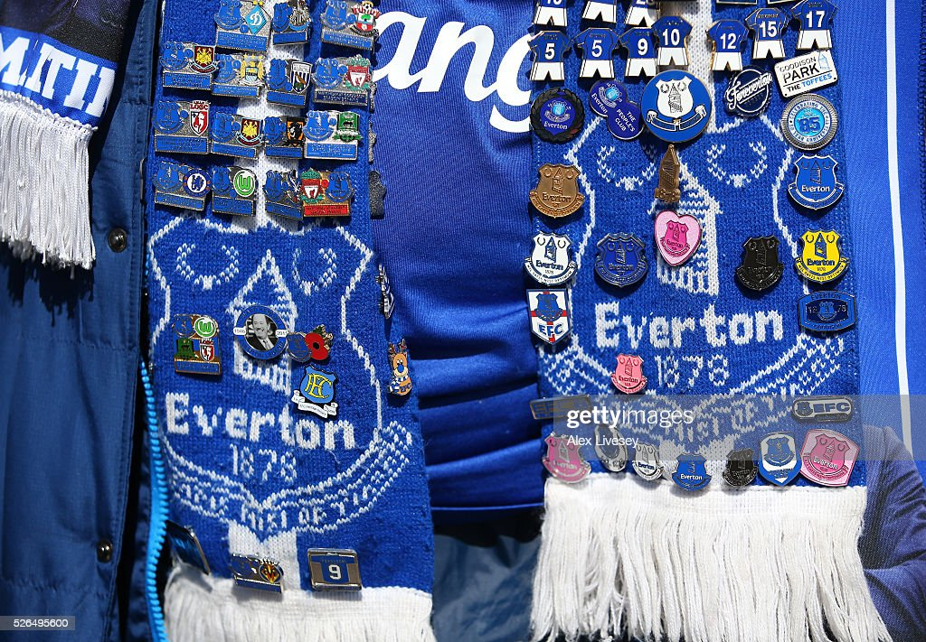 Scarves and budges are on sale prior to the Barclays Premier League match between Everton and A.F.C. Bournemouth at Goodison Park on April 30, 2016 in Liverpool, England.